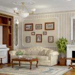 Картины над диваном у камина