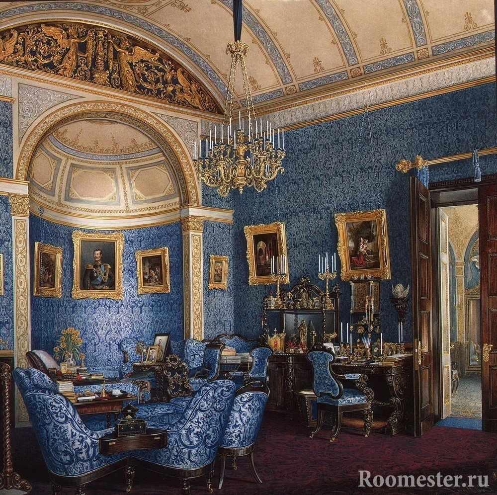 Интерьер с синими стенами и мебелью