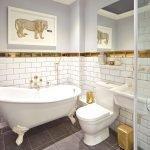 Стиль гламур в небольшой ванной комнате
