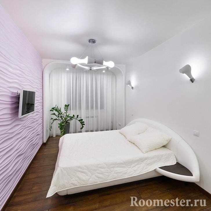 Розовый цвет для спальни в стиле хай-тэк