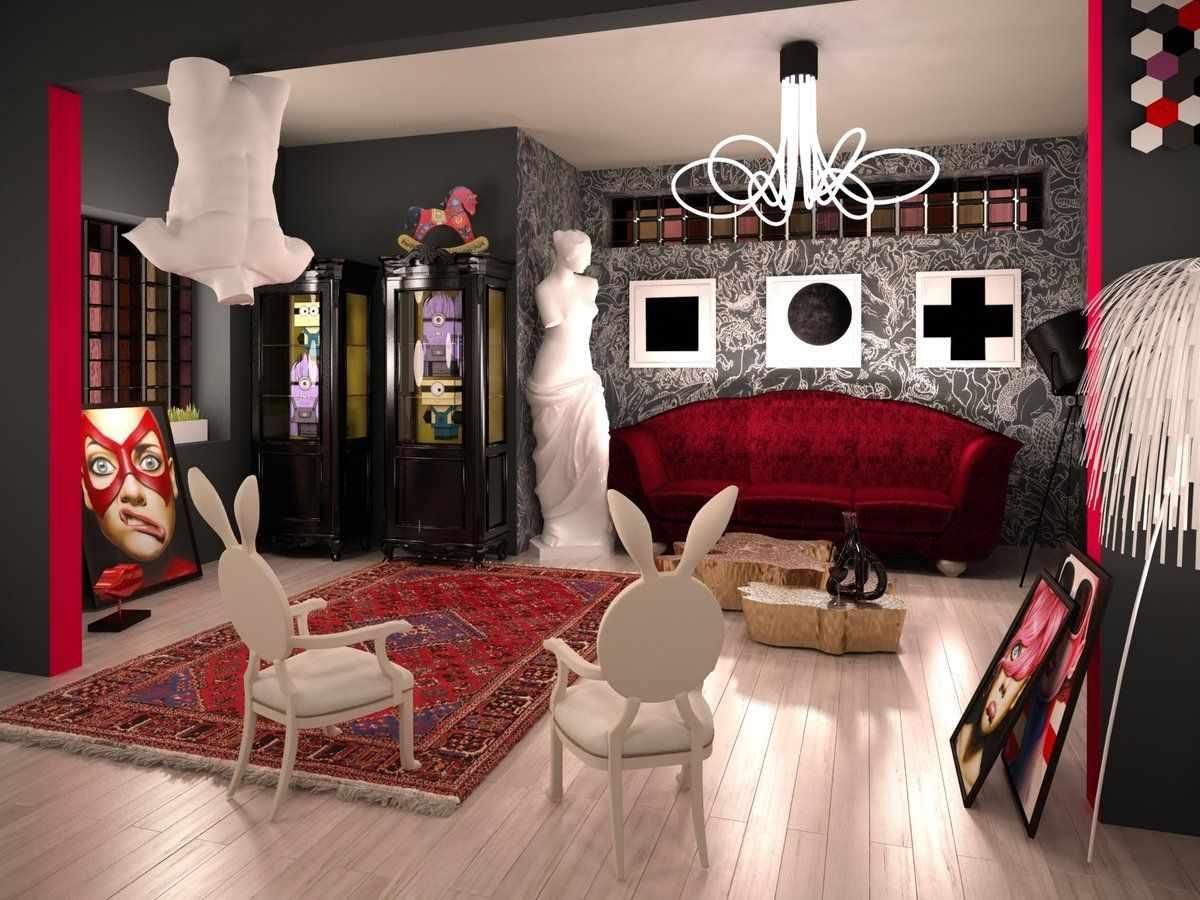 Ламинат на полу в гостиной в стиле китч