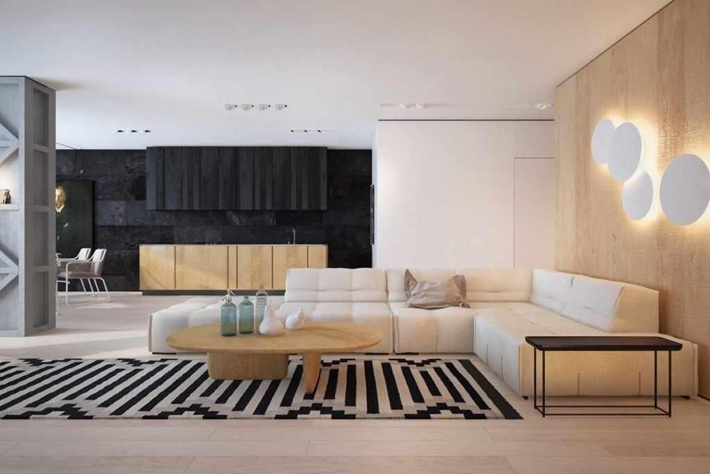 Панели в отделке интерьера в стиле контемпорари