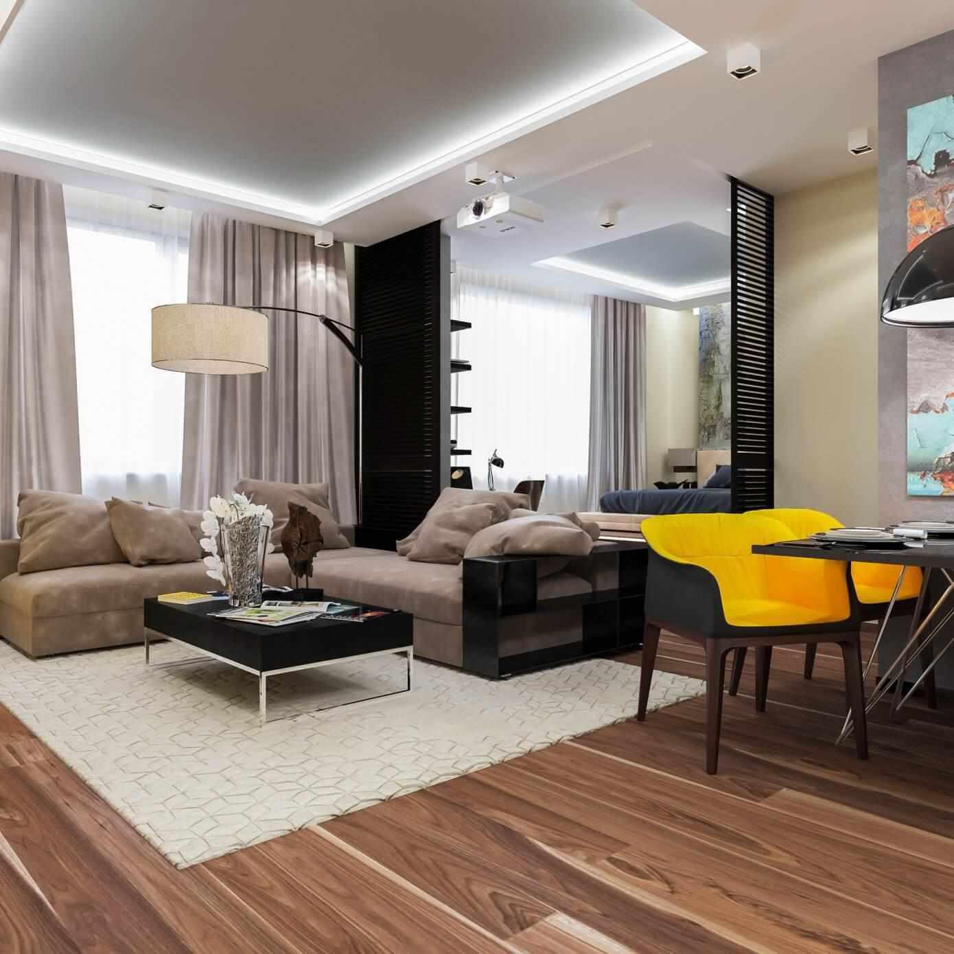 Ламинат на полу интерьера в стиле контемпорари