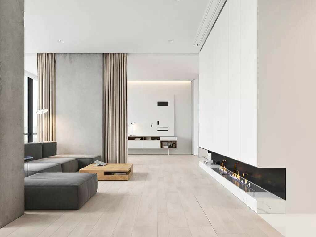 Светлые стены в интерьере в стиле минимализм