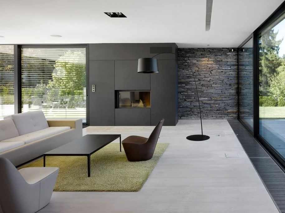 Пол из ламината в интерьере в стиле минимализм