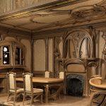 Столовая с камином и мебелью из дерева