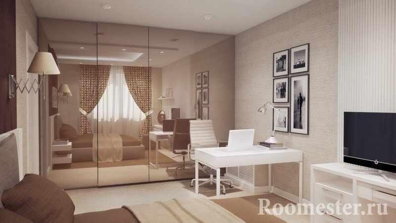 Комната с зеркальным шкафом и картинами на стене