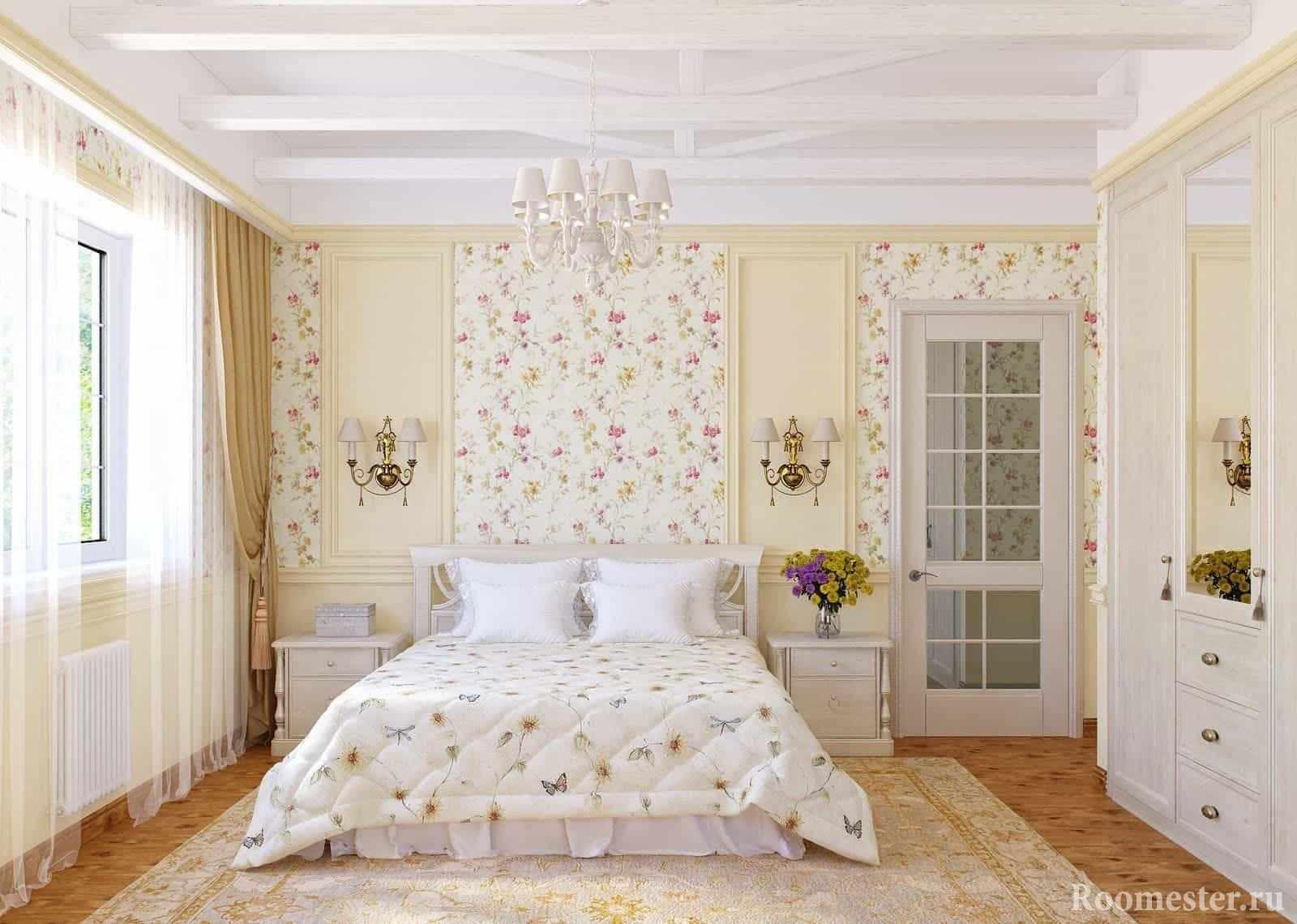 Светлая спальня со шкафом