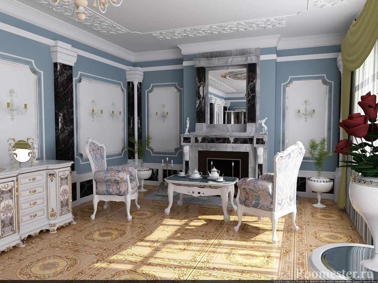 Шикарные столик и кресла у камина