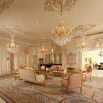 Зал с шикарным интерьером и мебелью