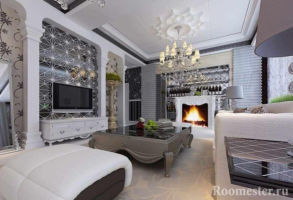 Гостиная с камином, большой люстрой в стиле современная классика