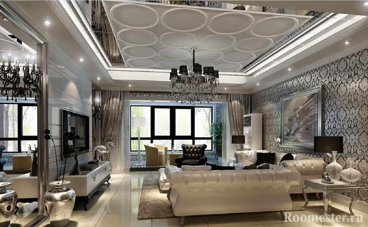 Богатый дизайн интерьера в стиле современная классика