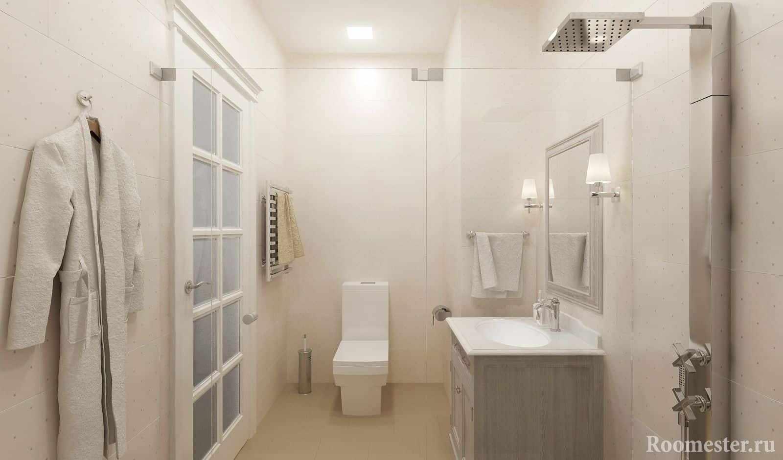 Белая ванная комната в интерьере