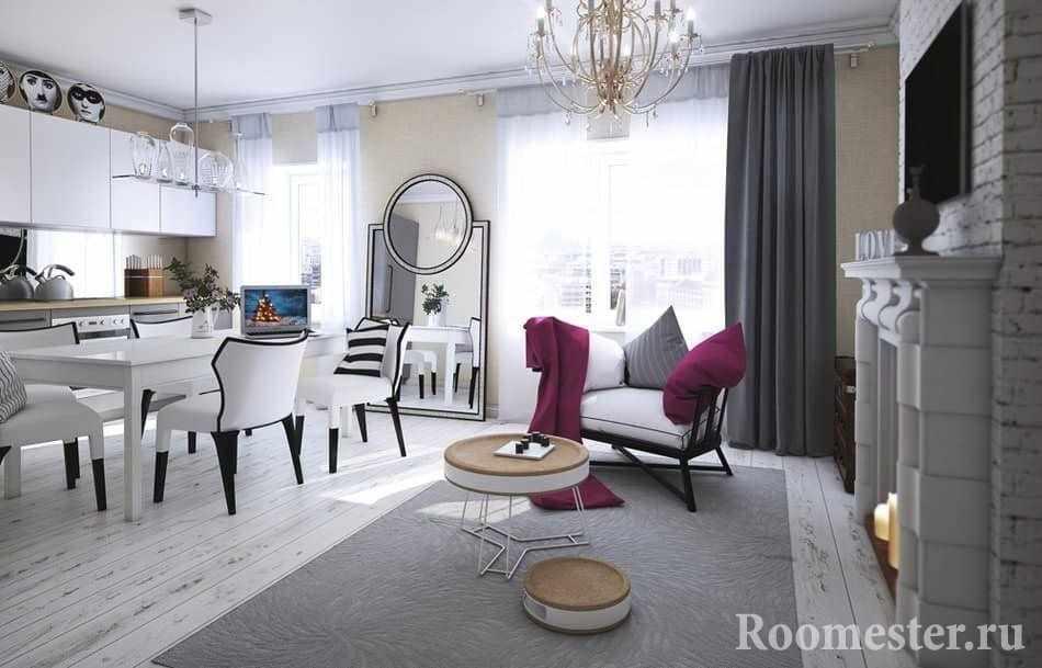 Кухня и гостиная совмещены в единое пространство в стиле современная классика