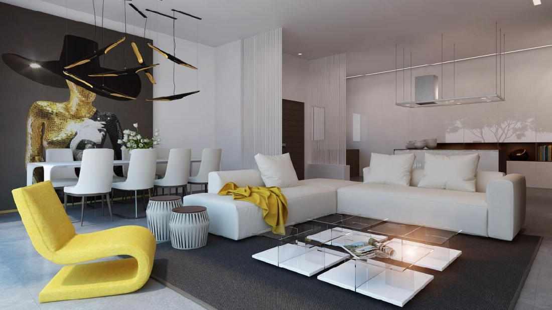 Светлая мебель в стильном интерьере