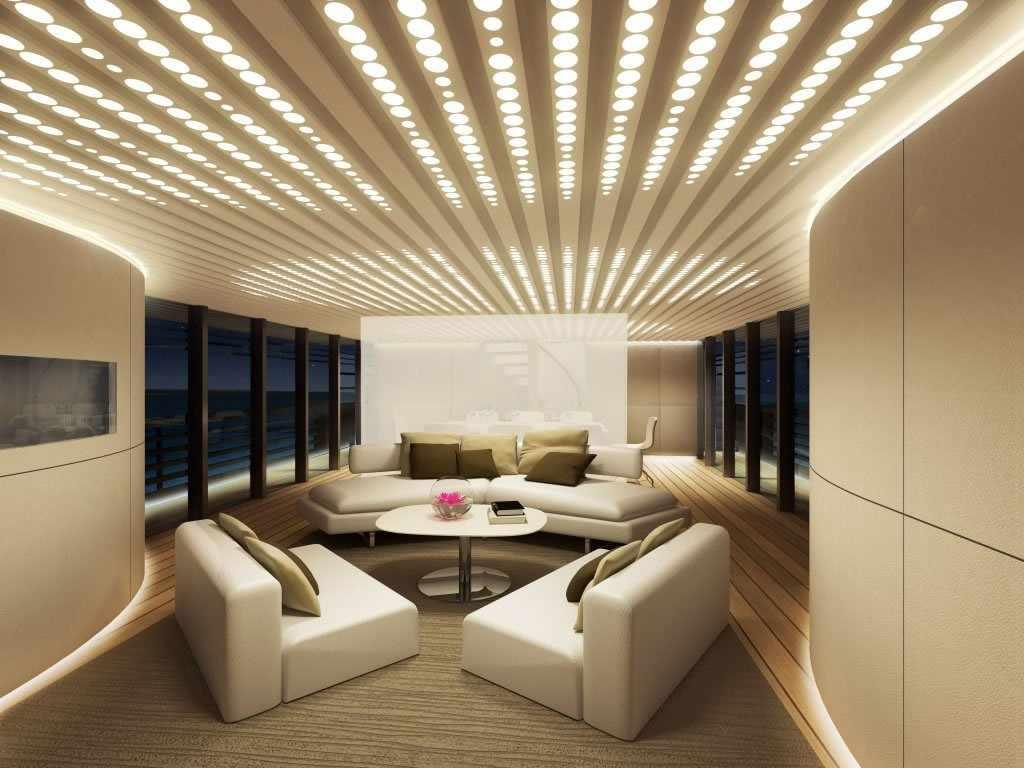 Множество мелких лампочек на потолке