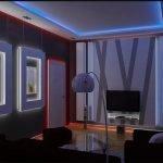 Дверь с красной подсветкой в интерьере