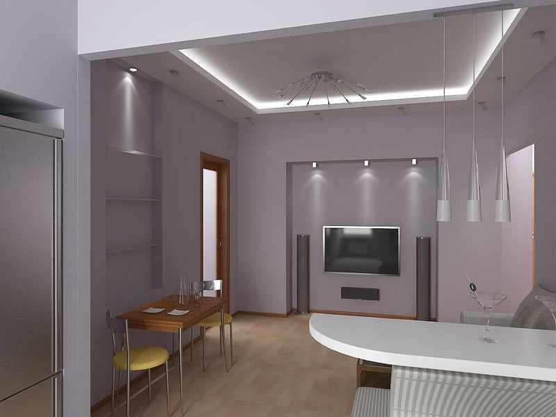 Потолок со светодиодной подсветкой в интерьере