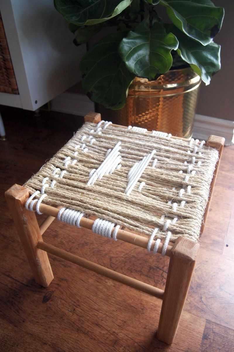 Табурет с плетенным сиденьем