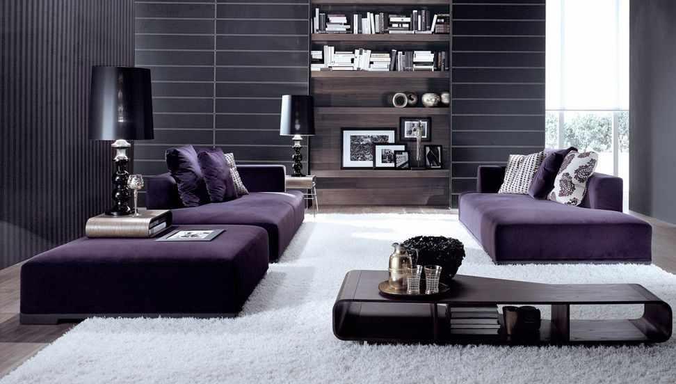 Фиолетовая мебель в гостиной
