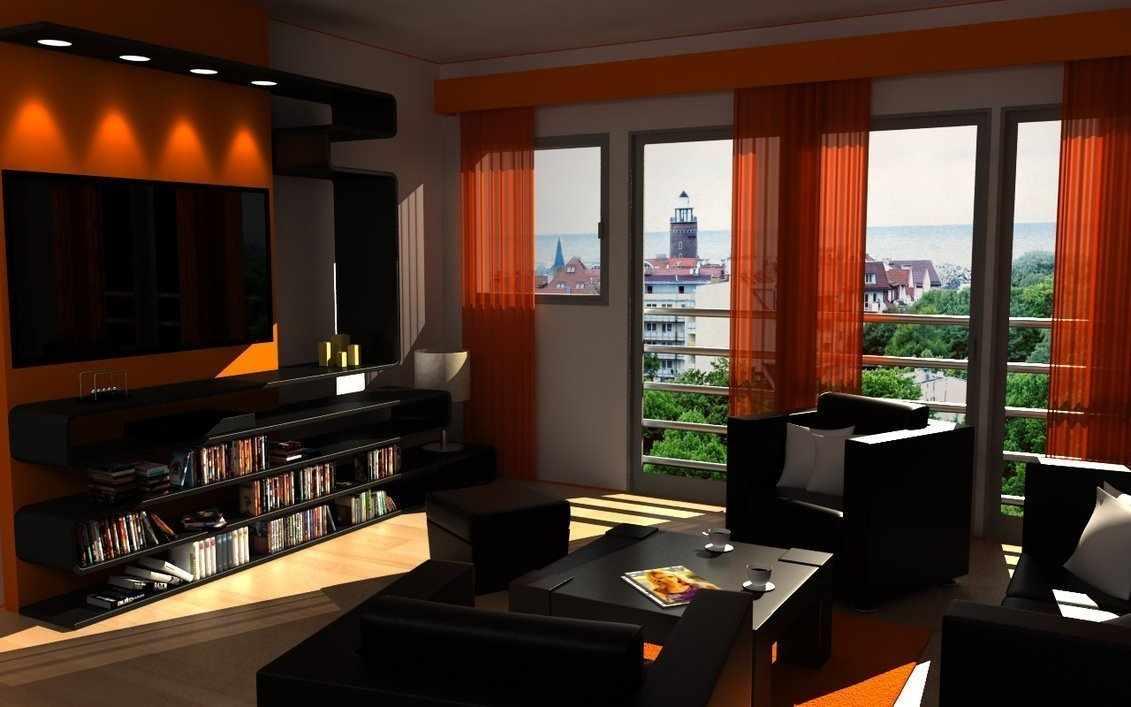 Темная мебель и оранжевые шторы в гостиной