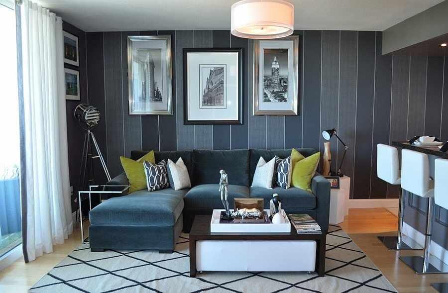 Серая мебель и серые стены в гостиной