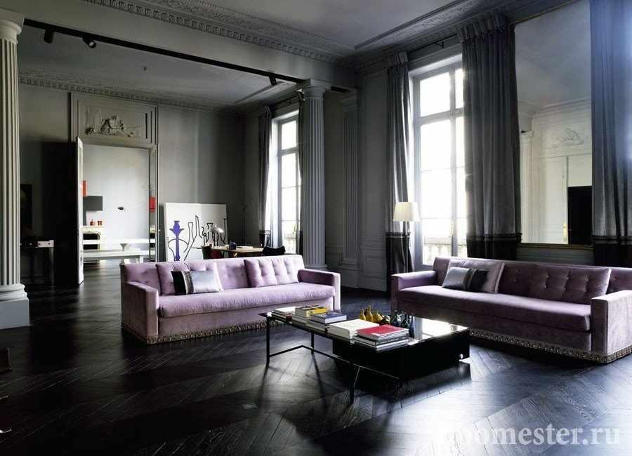 Квартира в стиле модерн с темным полом