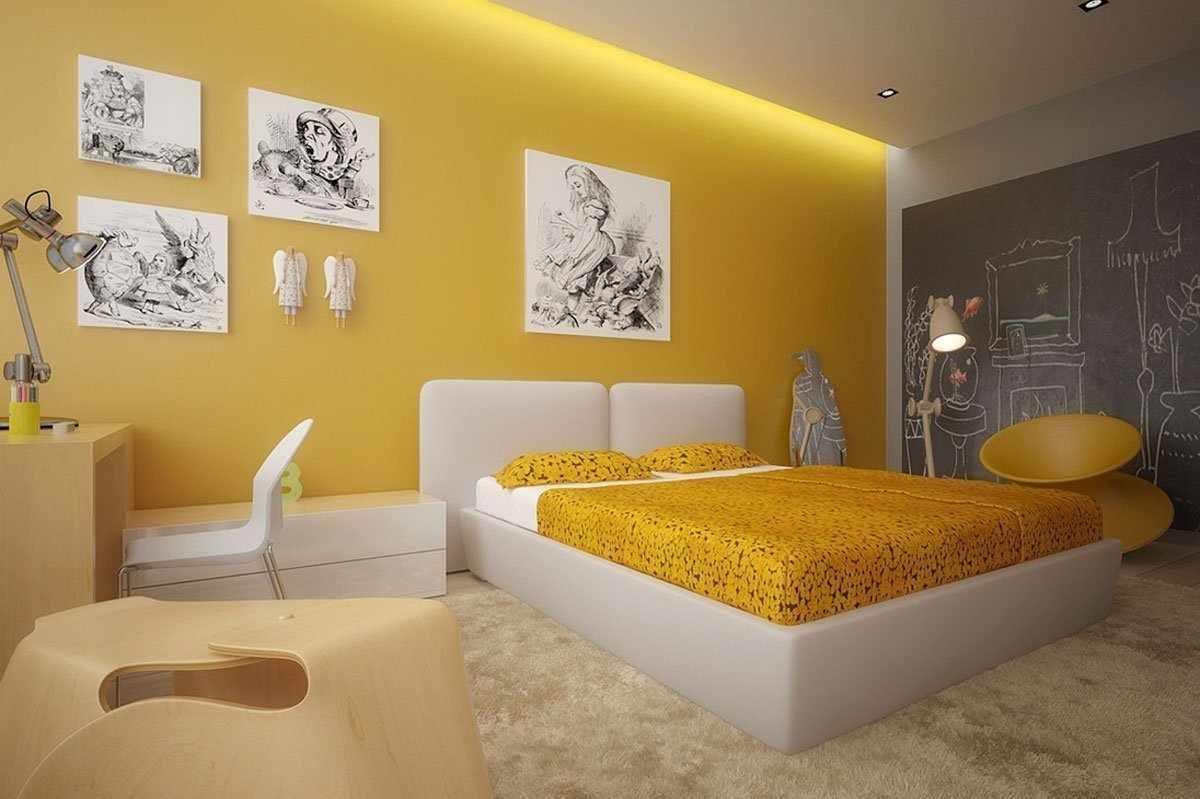 Теплый интерьер спальни
