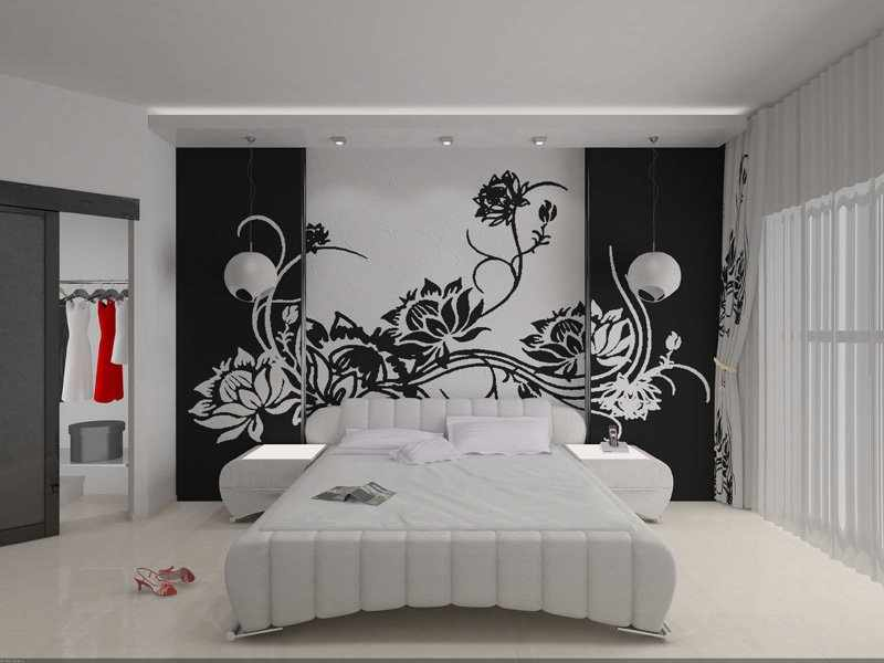 Трафареты на стене в интерьере
