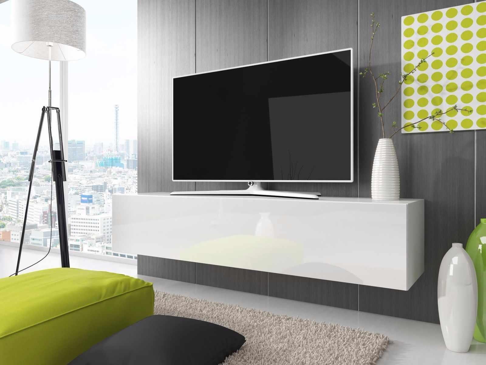 Подвесная тумба под телевизор в интерьере