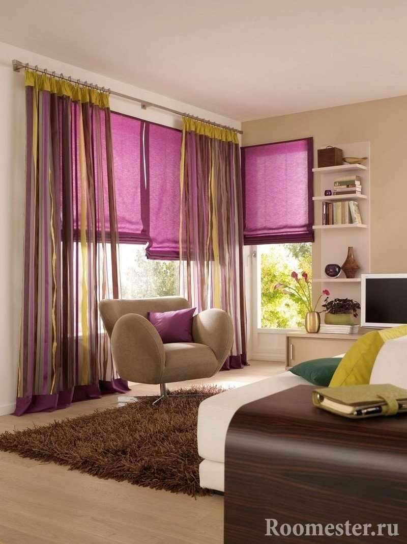 Сиренево-желтые занавески на окне