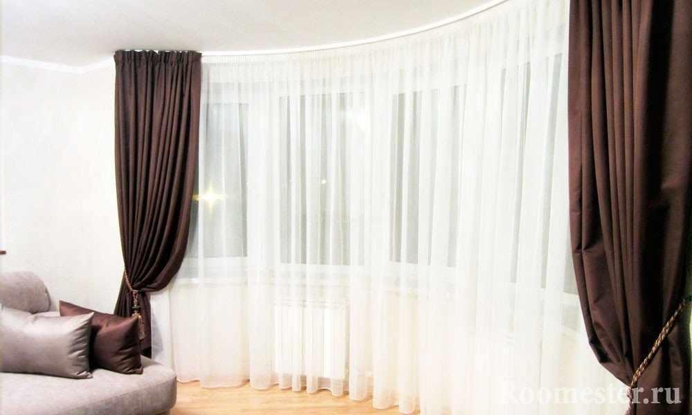 Шоколадные шторы и белая тюль