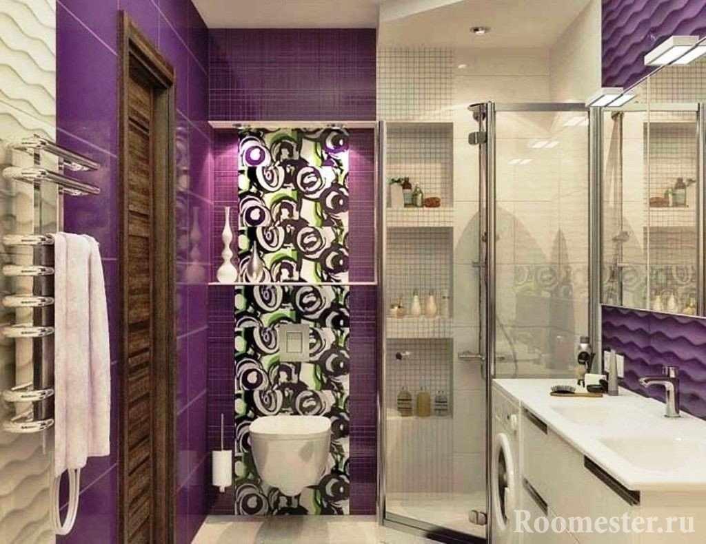 Сиреневая ванная с душевой кабиной
