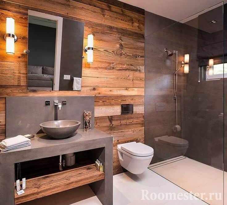 Стена из дерева в ванной