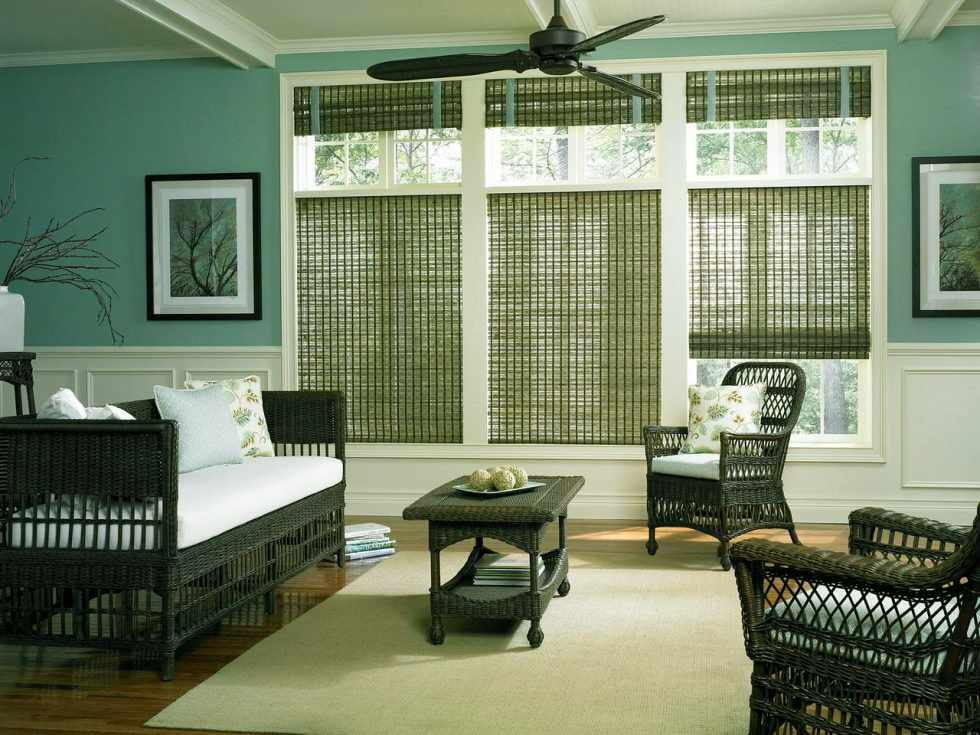 Зеленые бамбуковые шторы