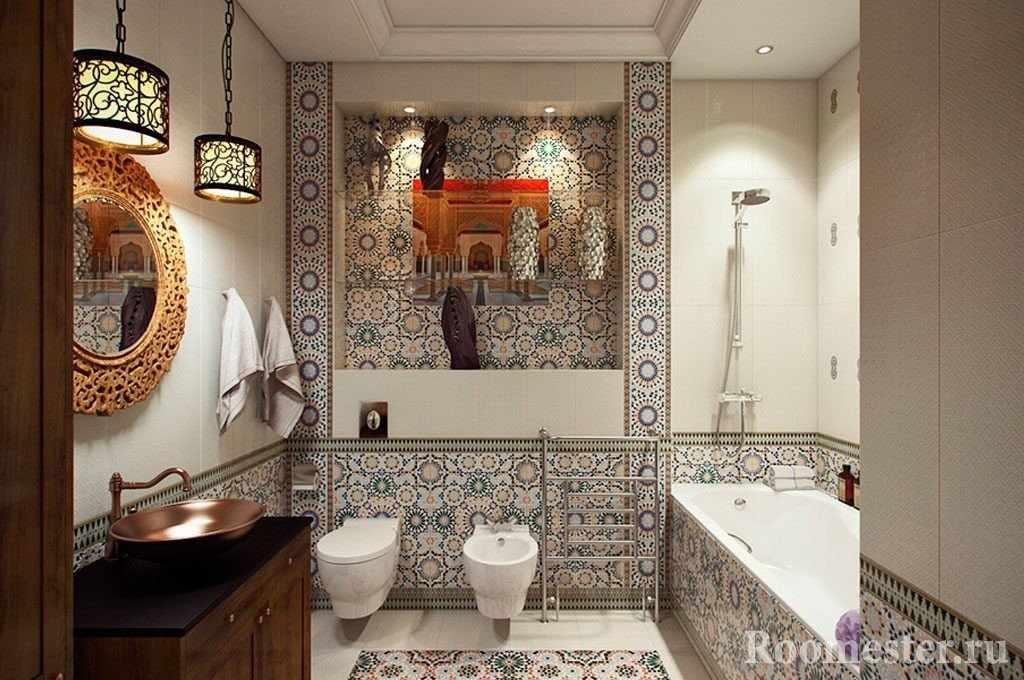 Плитка с узорами в ванной