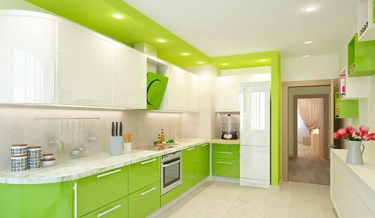 Салатовый цвет в интерьере кухни