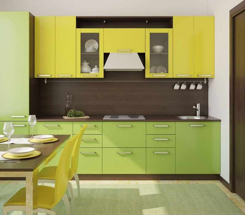 Желто-зеленая кухня