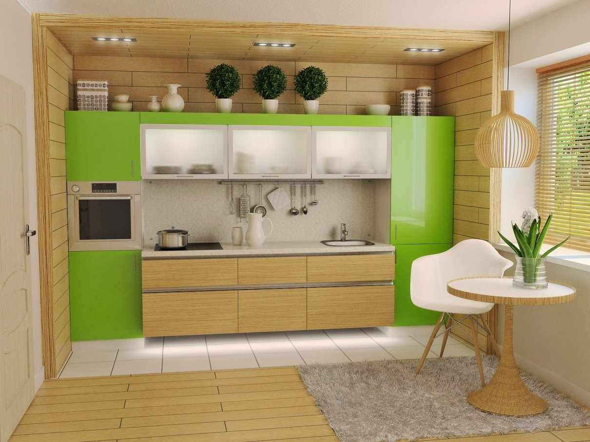 Бежево-зеленая кухня