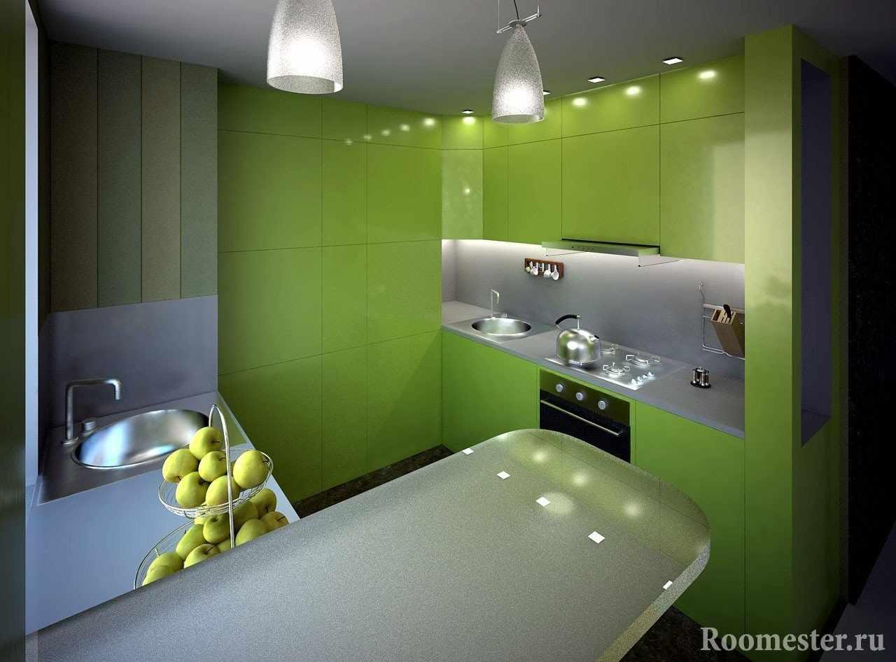 Кухня с фасадами сливающимися в одно полотно