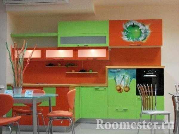 Зеленый с оранжевым