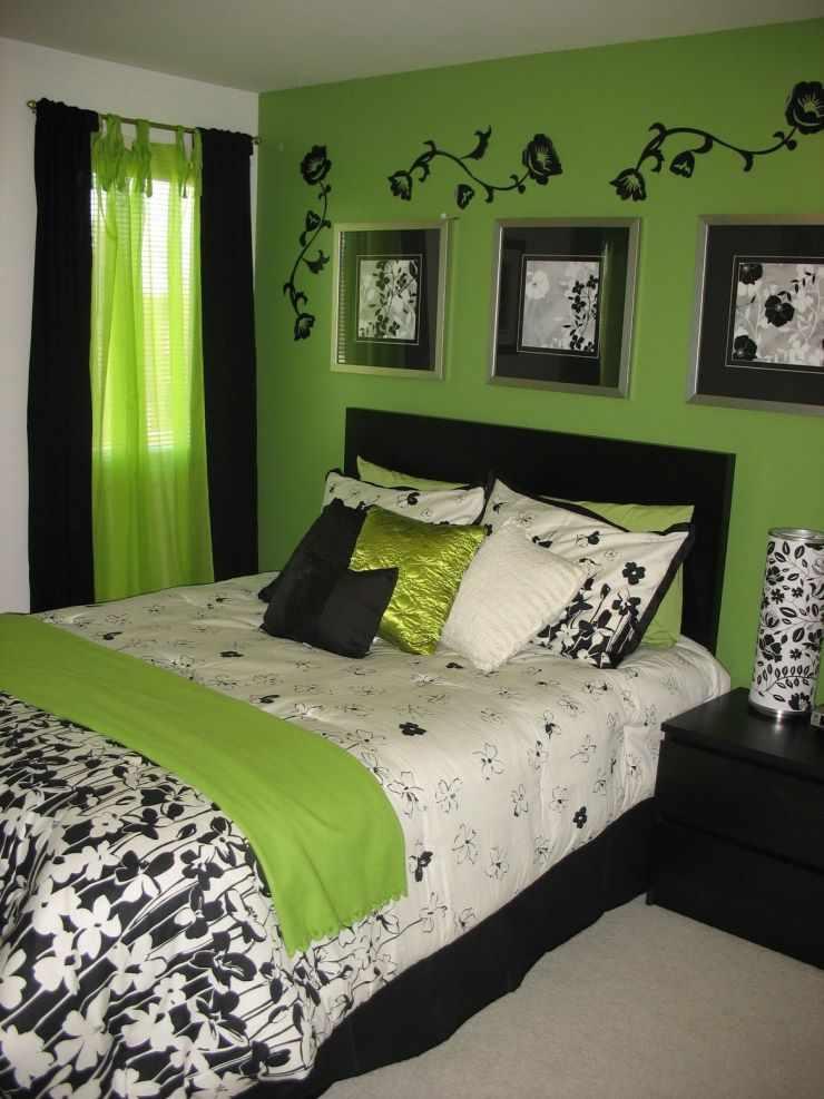 Сочетание зеленого с черным в интерьере спальни