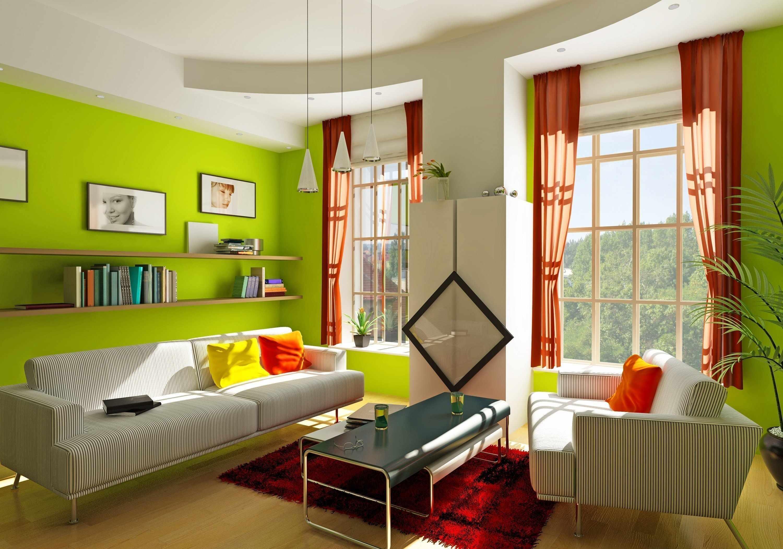 Сочетание зеленых обоев с красными шторами