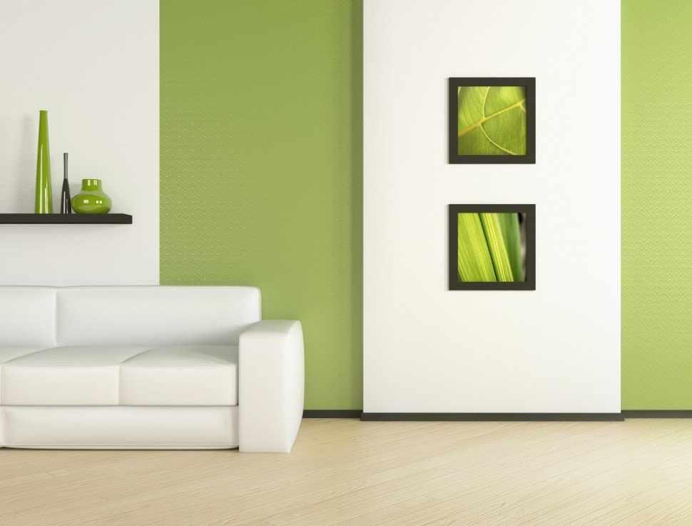 Бело-зеленый интерьер