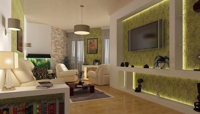 Сочетание зеленых обоев и бежевого потолка