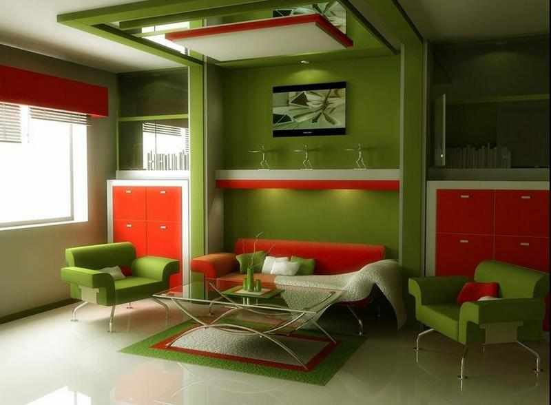 Зеленый интерьер с оранжевой мебелью