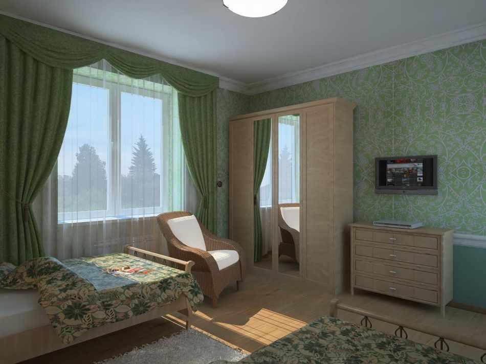 Спальня с зелеными обоями