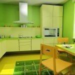 Сочетание зеленых стен и желтого пола
