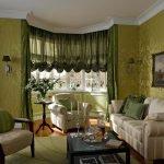 Зеленая гостиная в классическом стиле