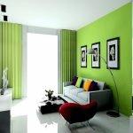 Обои зеленого цвета в интерьере гостиной